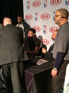 Anthony Davis signing autographs at NBA House on Friday, February 13.