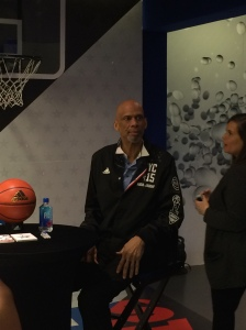 NBA Legend, Kareem Abdul-Jabaar signs autographs at the Adidas store in SoHo on Friday, February 13.