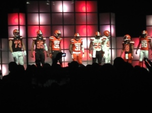 Browns players at the new uniform reveal at the Cleveland Convention Center on April 14. Photo Credit-Nate Nealon