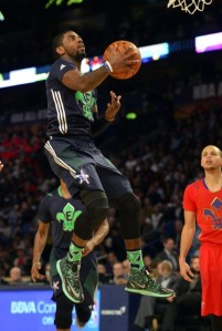 Kyrie Irving soars for a layup in the 2014 All-Star Game in New Orleans.