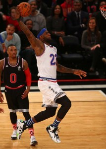 February 15, 2015; New York, NY, USA; Eastern Conference forward LeBron James of the Cleveland Cavaliers (23) shoots during the second half of the 2015 NBA All-Star Game at Madison Square Garden. Credit: Brad Penner-USA TODAY Sports