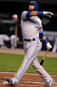 Blue Jays slugger Jose Bautista takes a swing against the Baltimore Orioles on April 24, 2012. Photo Credit-Keith Allison