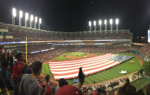 The crowd at Progressive Field stands for Game 1 of the ALDS on October 6. Photo Credit-Jeff Lansky